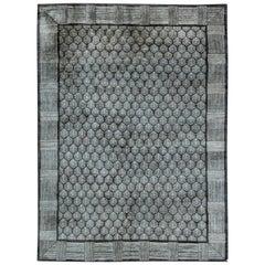21st Century Tibetan Pine Anthracite and White Handmade Rug
