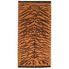 21st Century Tiger Design Handmade Wool Rug in Black and Orange
