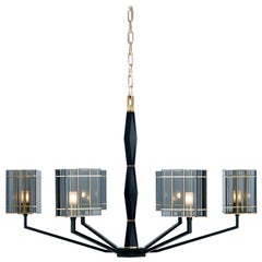 21st Century Top Glass 6 Lights Chandelier by Officina Luce Fumè Glass Shades