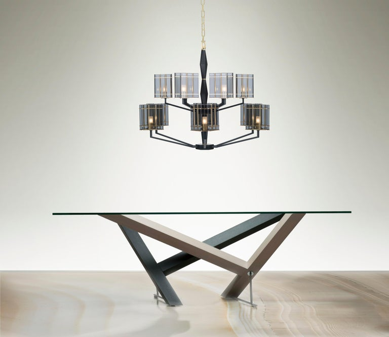 Art Deco 21st Century Top Glass Chandelier by Officina Luce Geometric & Fumè Glass Shades For Sale