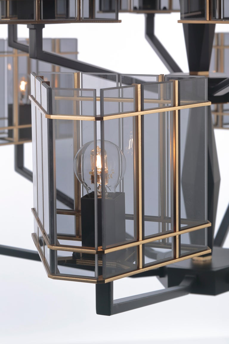 Italian 21st Century Top Glass Chandelier by Officina Luce Geometric & Fumè Glass Shades For Sale