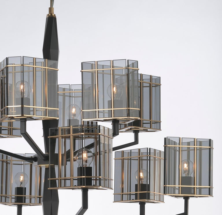 21st Century Top Glass Chandelier by Officina Luce Geometric & Fumè Glass Shades In New Condition For Sale In Prato, IT