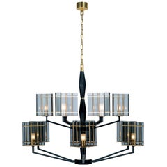 21st Century Top Glass Chandelier by Officina Luce Geometric & Fumè Glass Shades