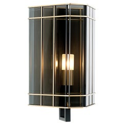 21st Century Top Glass small Wall Lamp by Officina Luce Fumè Glass Shade