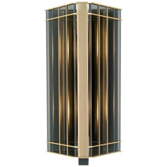 21st Century Top Glass Wall Lamp by Officina Luce Geometric & Fumè Glass Shade
