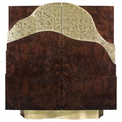 21st Century Torsion Cabinet Walnut Wood Root Gold Leaf