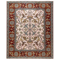 21st Century Traditional Floral Design Flat-Weave Wool Rug