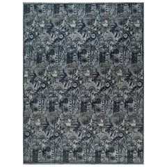 21st Century Traditional Inspired Bold Design Blue and Gray Handmade Wool Rug