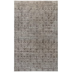 21st Century Traditional Inspired Brown and Purple Hand-knotted Wool Rug