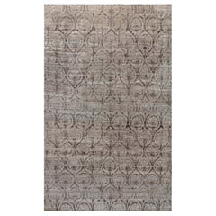 21st Century Traditional Inspired Brown and Purple Hand Knotted Wool Rug