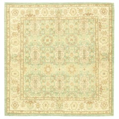 21st Century Traditional Oriental Inspired Beige, Brown and Aquamarine Wool Rug