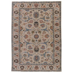 21st Century Traditional Oriental Inspired Blue, Salmon Pink and Beige Wool Rug