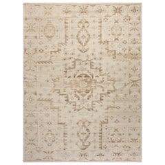 21st Century Traditional Oriental Inspired Handmade Wool Rug in Beige and Brown