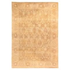 21st Century Traditional Oriental Inspired Handmade Wool Rug in Beige and Brown