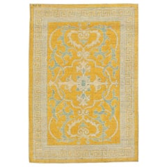 21st Century Traditional Oriental Inspired Yellow, Beige and Gray Wool Rug