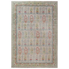 21st Century Traditional Oushak Design Rug in Beige, Blue, Green, and Red