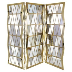 21st Century Trinity Folding Screen Translucent Glass Smoked Glass Mirror