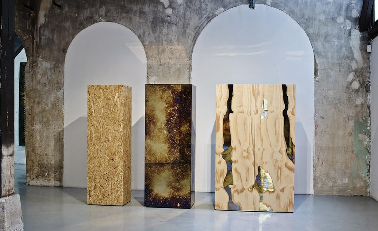 Italian 21st Century Triptych Wood Cabinet with Antiqued Mirror For Sale