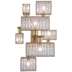 21st Century Tur Crystal and Satin Brass 7 Lights Wall Lamp by Patrizia Garganti