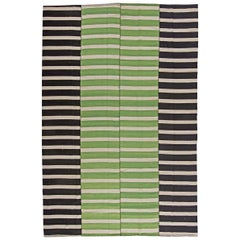 21st Century Turkish Modernist Wool Kilim Rug in Green, Black and White Stripes