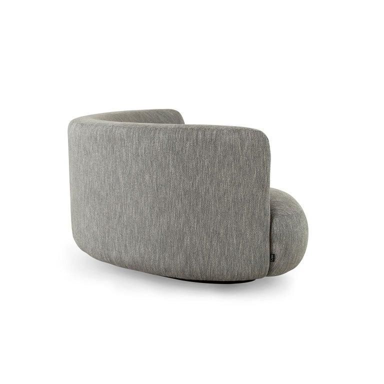 Modern 21st Century Twins 3-Seat Sofa Black Lacquer Grey Cotton-Linen Blend For Sale