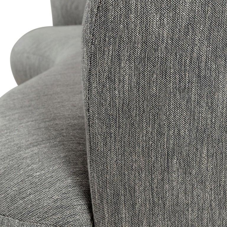 Portuguese 21st Century Twins 3-Seat Sofa Black Lacquer Grey Cotton-Linen Blend For Sale