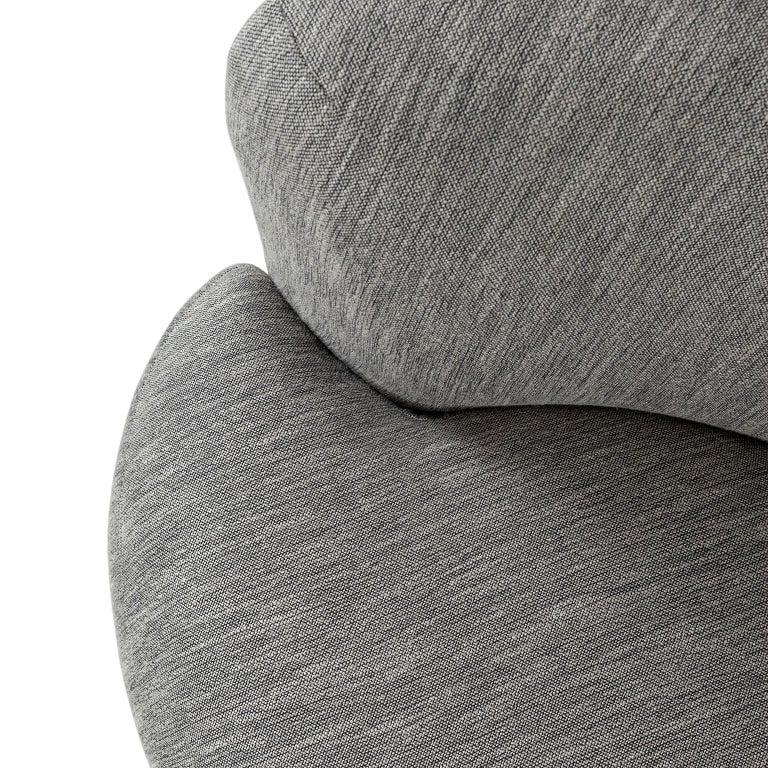 Lacquered 21st Century Twins 3-Seat Sofa Black Lacquer Grey Cotton-Linen Blend For Sale