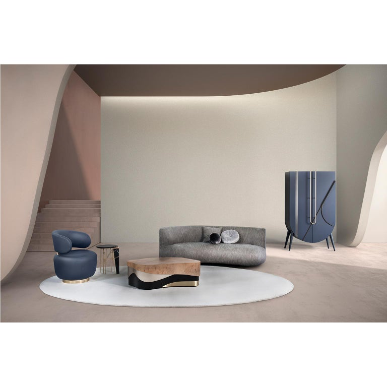 Wood 21st Century Twins 3-Seat Sofa Black Lacquer Grey Cotton-Linen Blend For Sale
