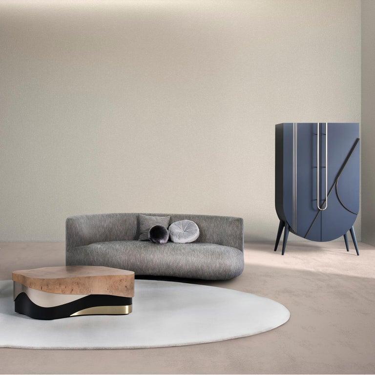21st Century Twins 3-Seat Sofa Black Lacquer Grey Cotton-Linen Blend For Sale 1