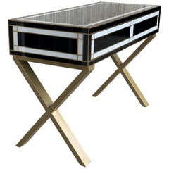 21st Century Two-Drawer Black & White Writing Desk or Console with Brass Accents