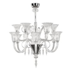 21st Century Venetian Chandelier 12 Arms Clear Murano Glass by Multiforme