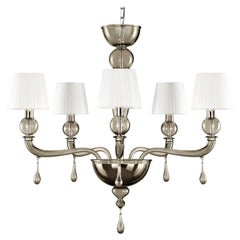 21st Century Venetian Chandelier 5 Arms Grey Smooth Murano Glass by Multiforme