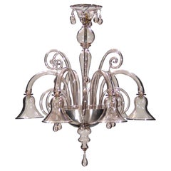 21st Century Venetian Chandelier 6 Arms Amethyst Murano Glass by Multiforme