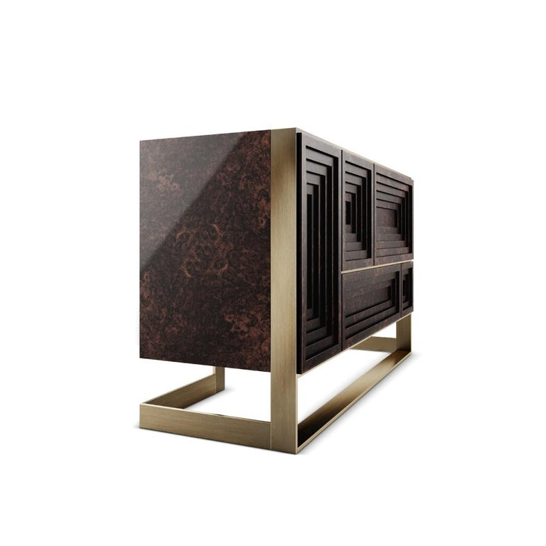 Brushed 21st Century Venezia Sideboard Wood Veneered in Walnut Wood Root For Sale