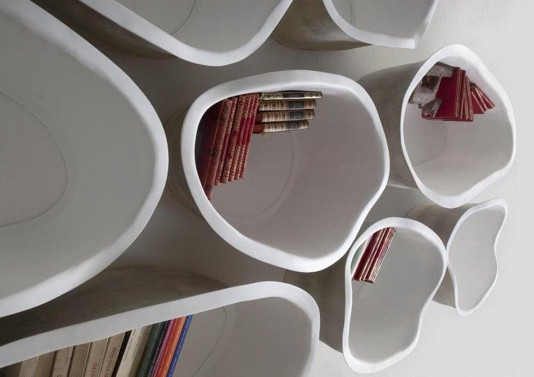 Modern 21st Century Verter Turroni White Fibreglass Modular Bookshelf Shelf Shelving For Sale