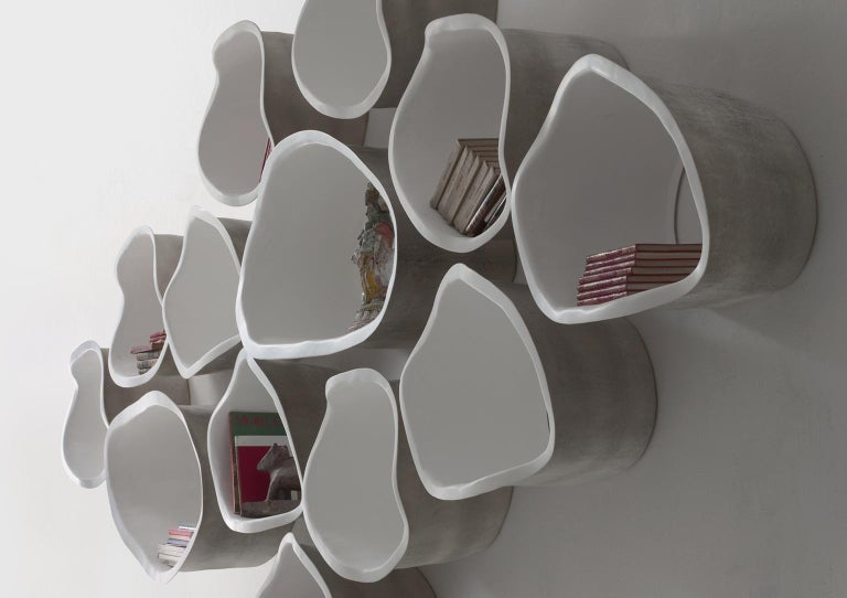 Italian 21st Century Verter Turroni White Fibreglass Modular Bookshelf Shelf Shelving For Sale