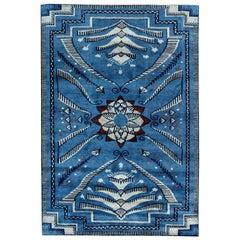 21st Century Viennese Design Handmade Wool Rug in Blue