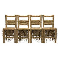 21st Century Vincent II Set of 4 Chairs by Atelier Biagetti Caned Natural Wood