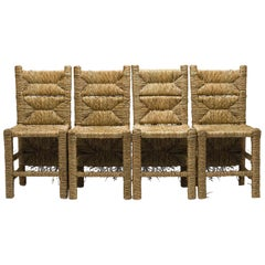 21st Century Vincent III Set of 4 Chairs by Atelier Biagetti Caned Natural Wood