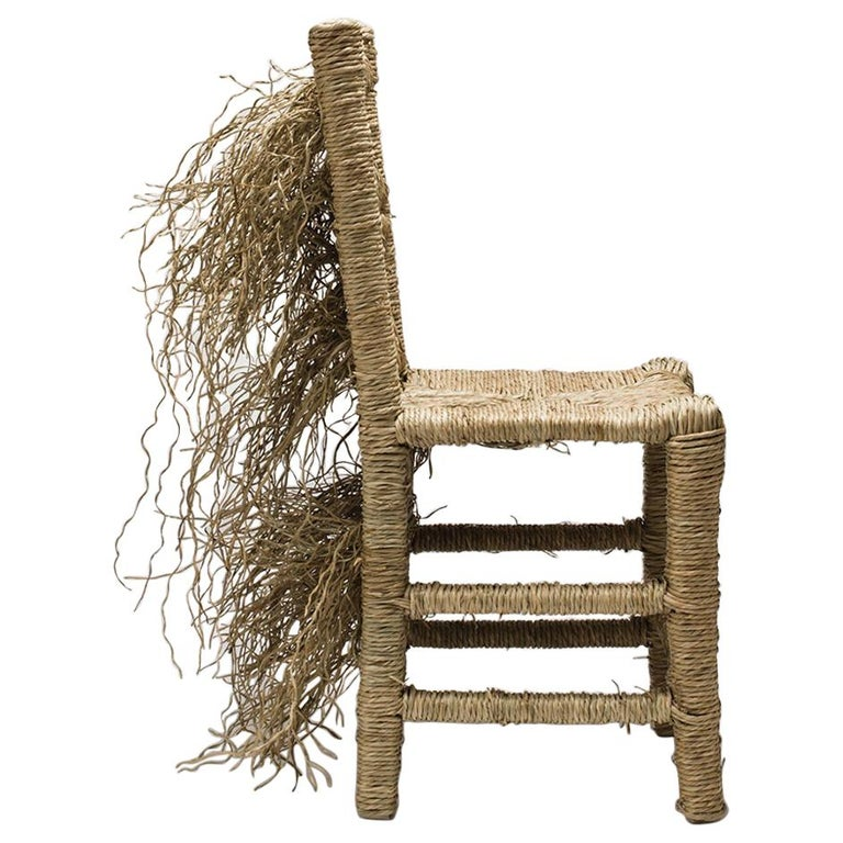 21st Century Vincent III Single Chair by Atelier Biagetti Caned Natural Wood For Sale