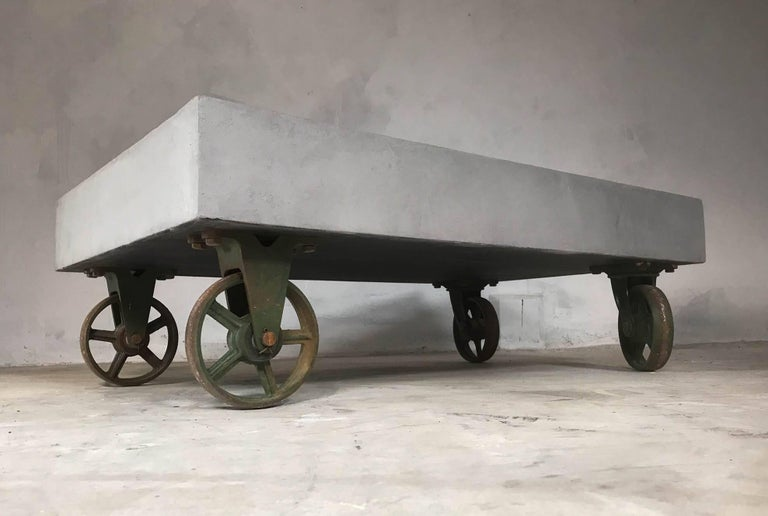 21st Century Vintage Industrial Coffee Table Wheels