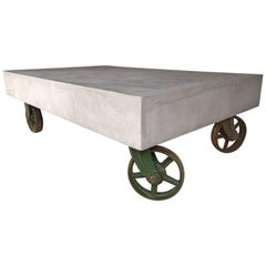 21st Century Vintage Industrial Coffee Table Wheels Concrete Style Loft Warehous