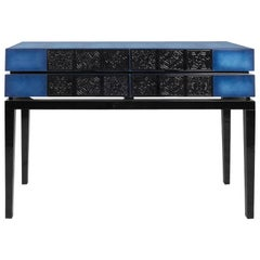 21st Century Virtuoso Console Translucent Lacquer Wooden Carved Tiles