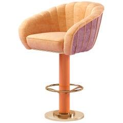 21st Century Vivien Swivel Bar Chair Cotto Velvet Brass