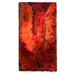 "21st Century Wall Sculpture ""MAGMA"" by André Poli Resin Red Black Abstrac Decor"