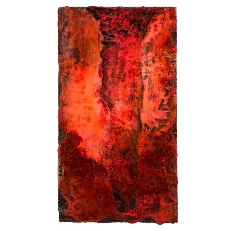 """21st Century Wall Sculpture """"MAGMA"""" by André Poli Resin Red Black Abstrac Decor For Sale"""