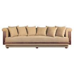 21st Century Walnut Wood Conway Sofa Linen