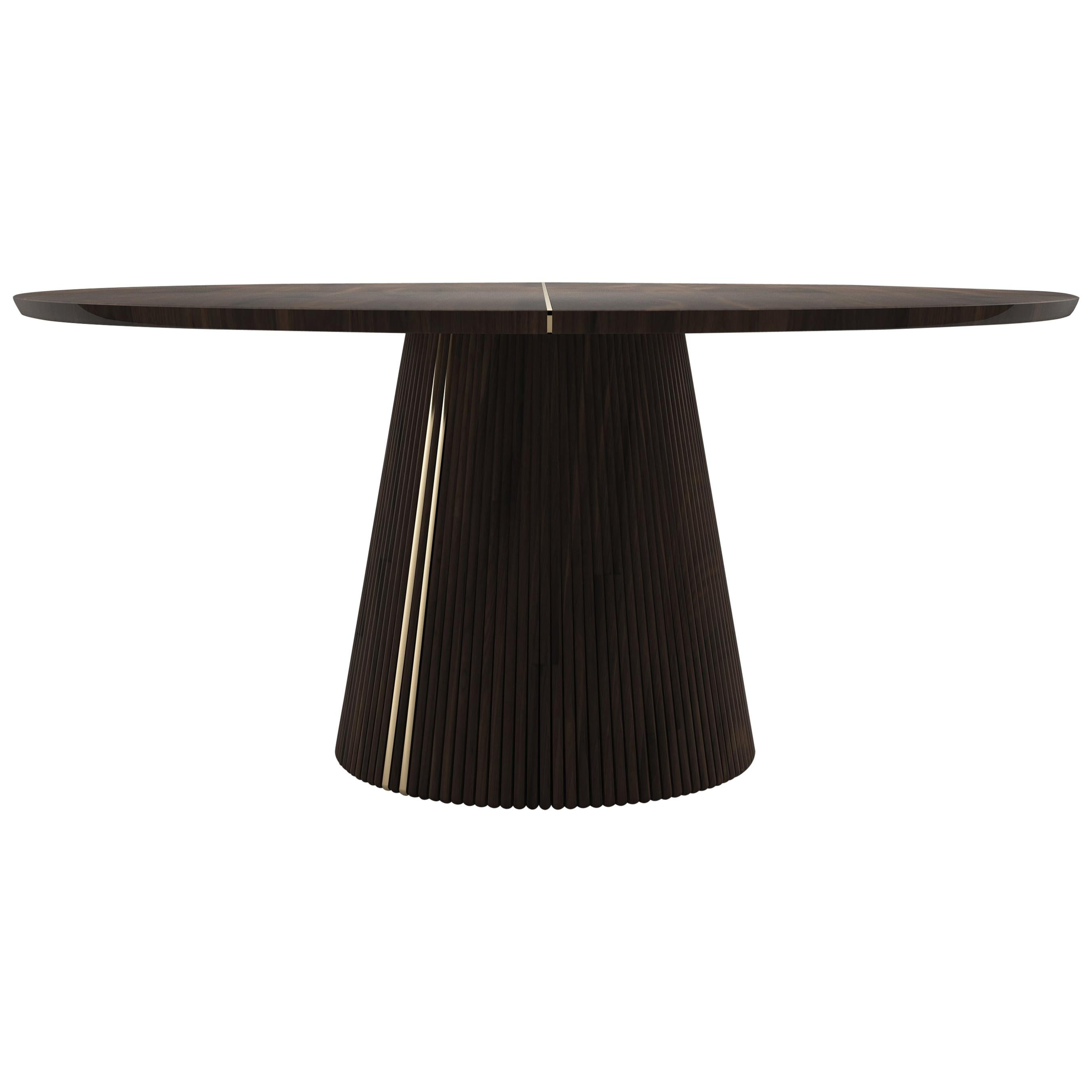 21st Century Walnut Wood Henry Dining Table Brass