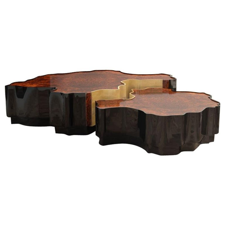 21st Century Walnut Wood Horizon Center Table Set For Sale