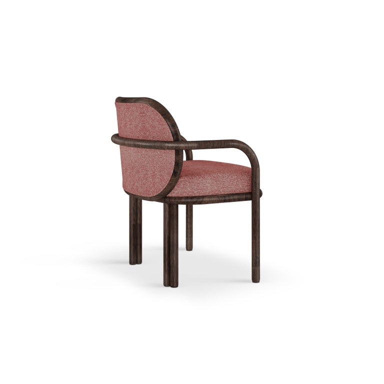 Portuguese 21st Century Walnut Wood James Dining Chair Linen For Sale